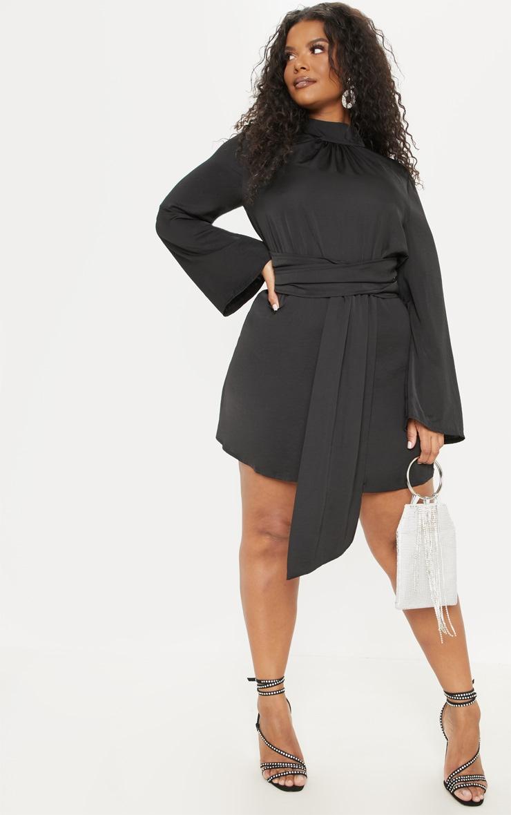 Plus Black Hammered Satin Drape High Neck Shift Dress 4