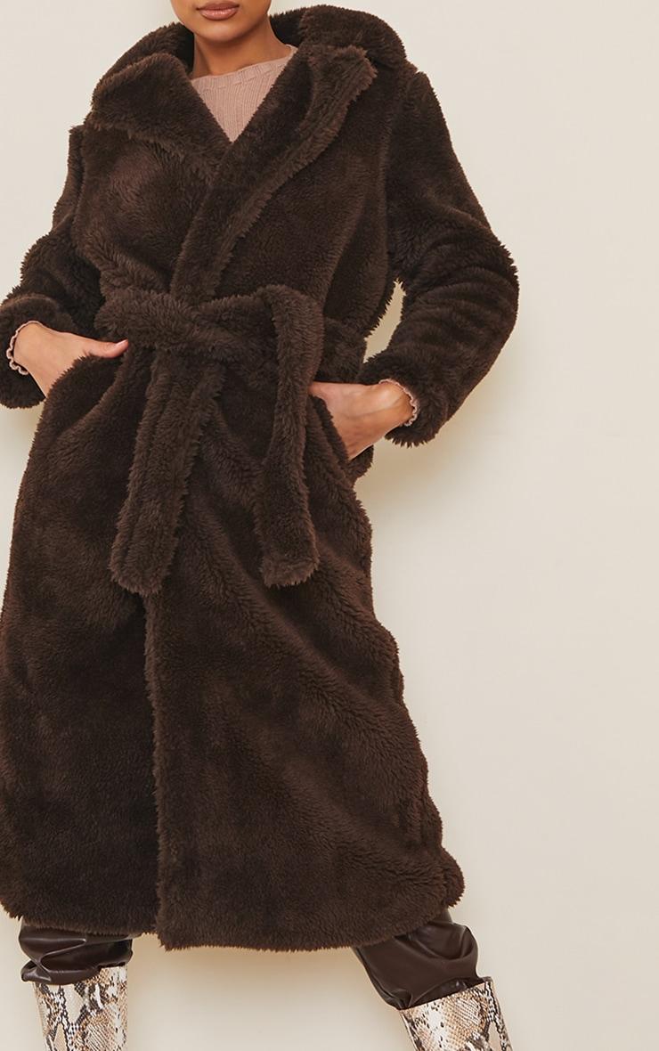 Brown Long Teddy Faux Fur Belted Coat 4
