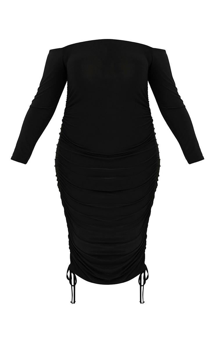 Plus Black Ruched Tie Side Bardot Midi Dress 3