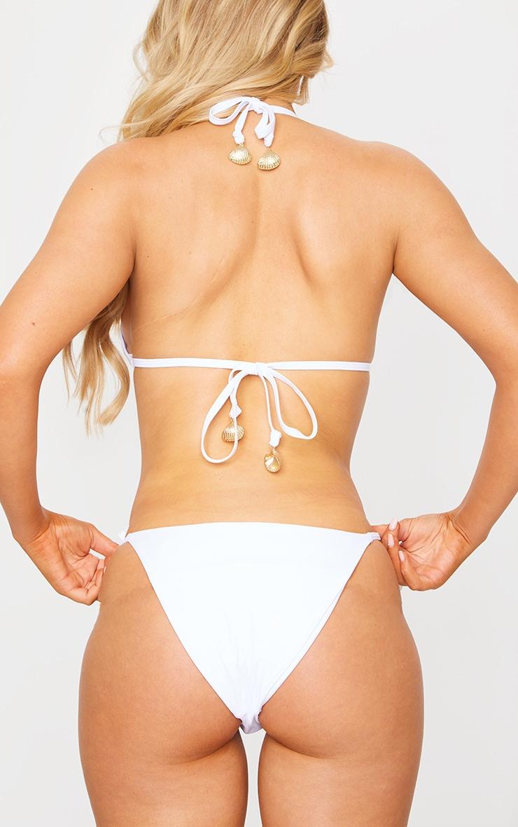 White Shell Detail Tie Side Bikini Bottoms 4