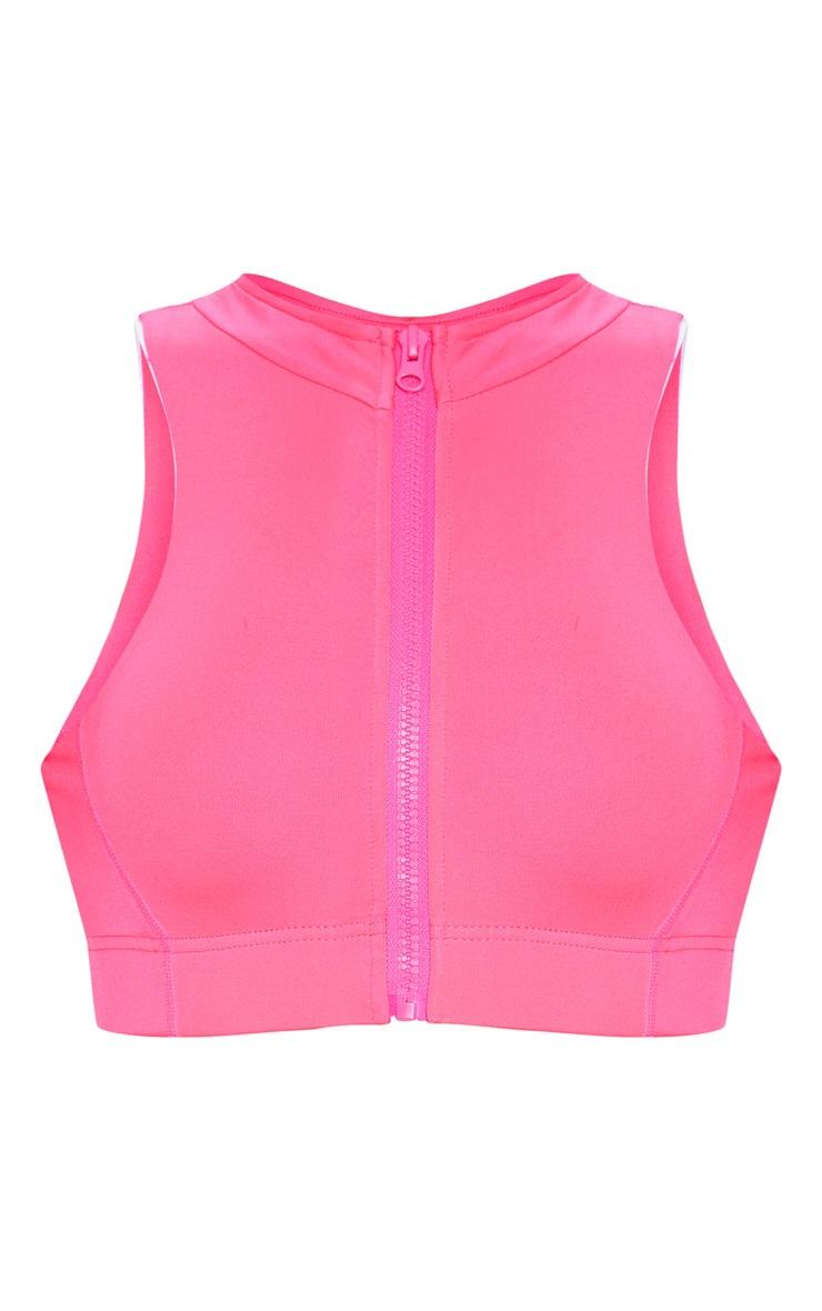 Hot Pink High Neck Zip Back Gym Crop Top 3