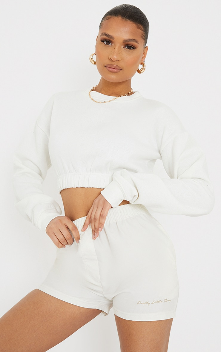 Cream Ruched Hem Cropped Sweatshirt 1