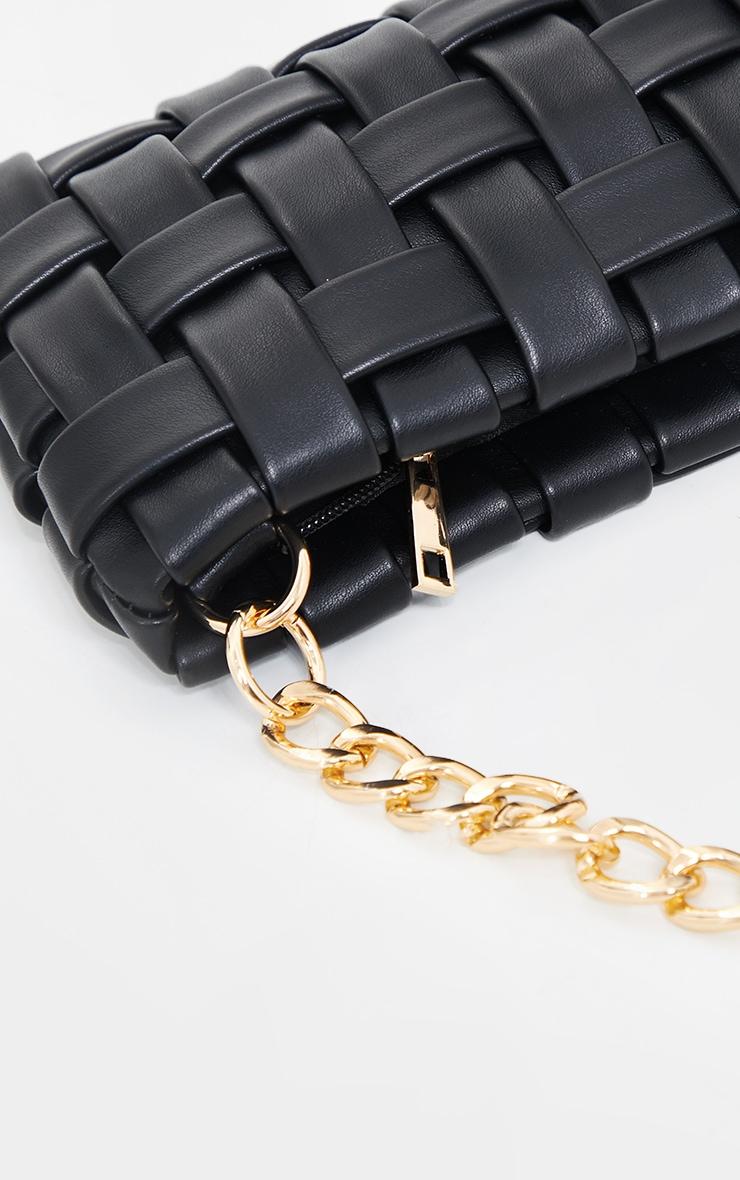 Black Oversized Weave With Gold Chain Shoulder Bag 4