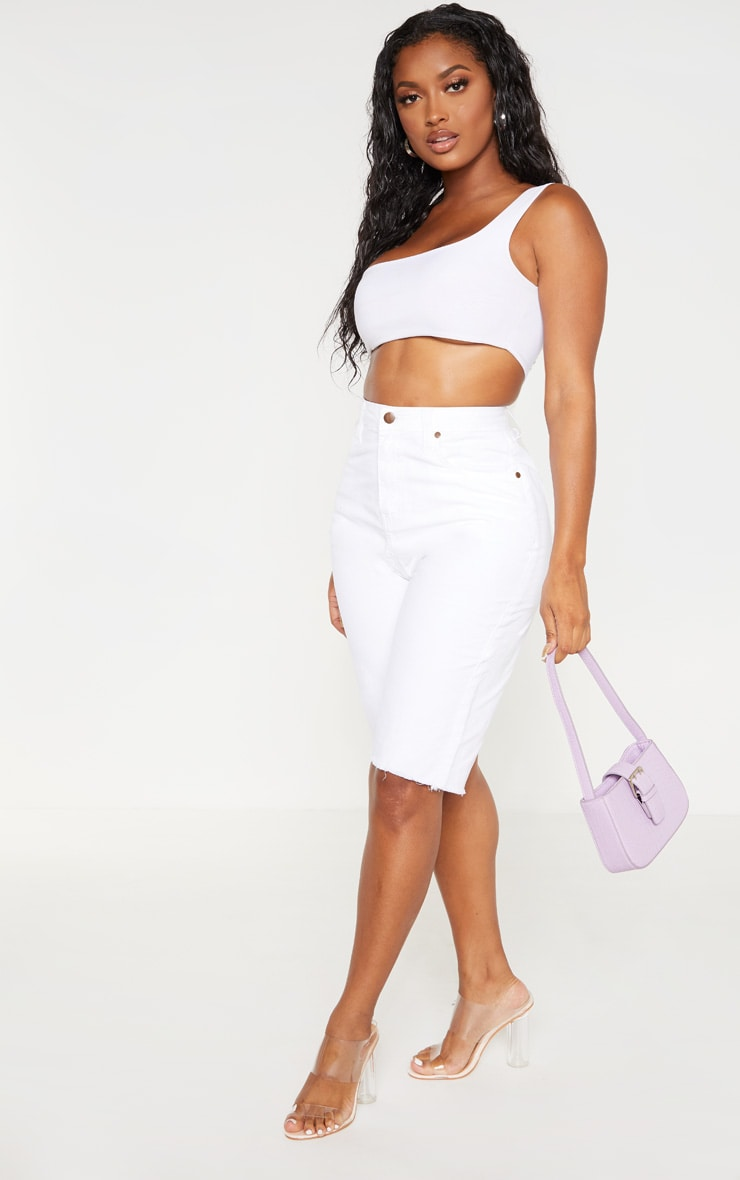 Shape White High Waisted Longline Denim Shorts 5