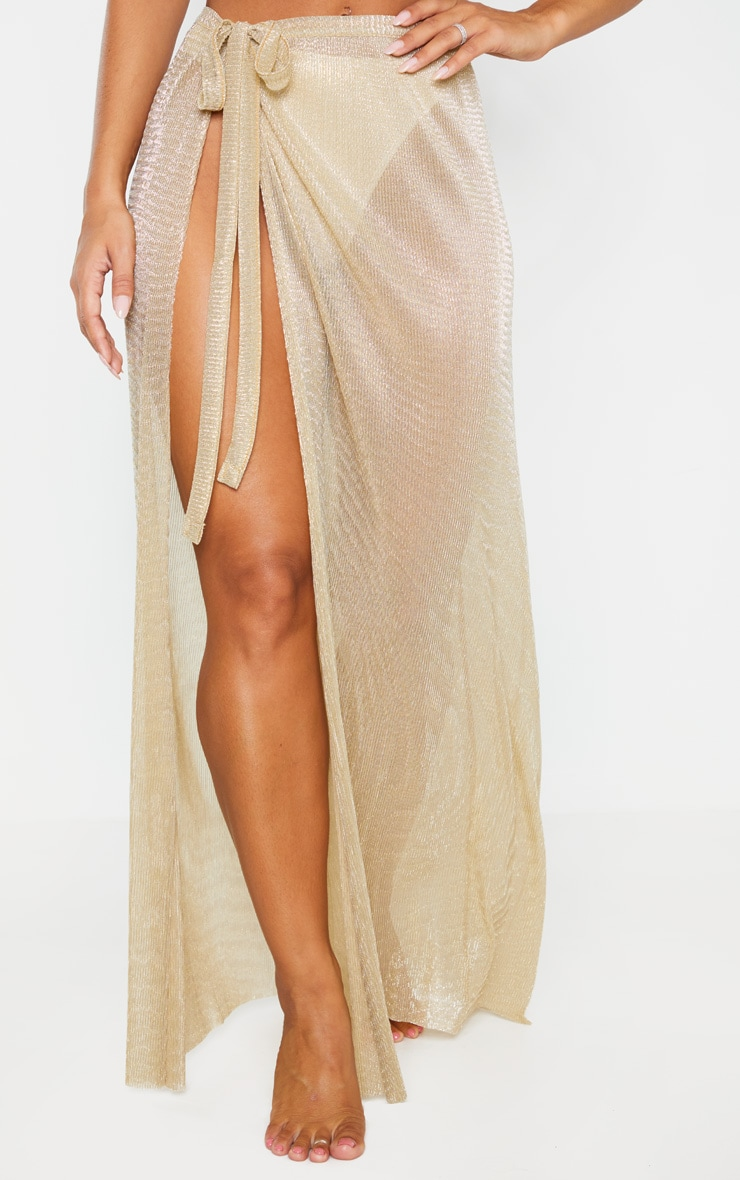 Gold Metallic Plisse Beach Sarong 2