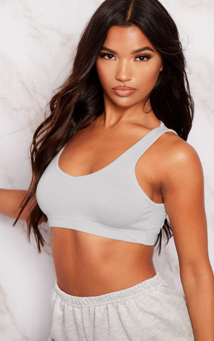 Basic Grey Sleeveless Elastic Hem Crop Top 5