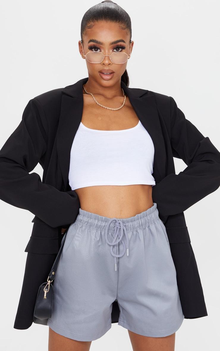 Grey Twill Drawstring Waist Shorts 1
