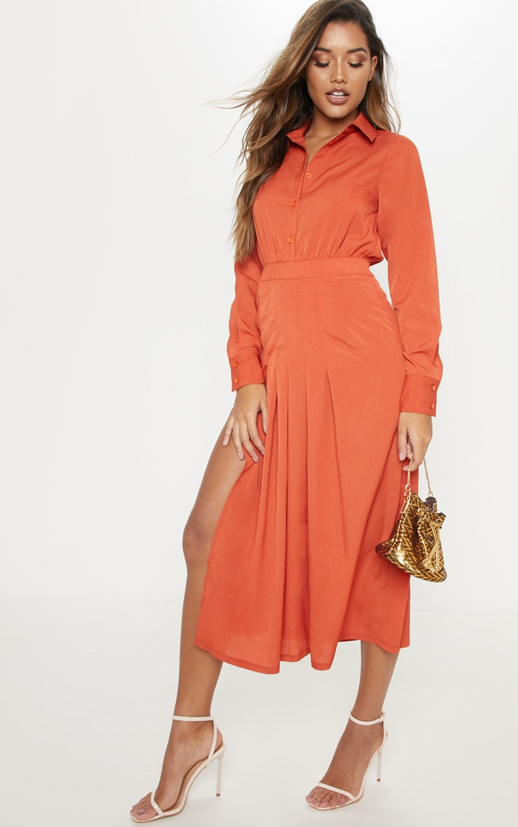 Rust Long Sleeve Midi Shirt Dress 1