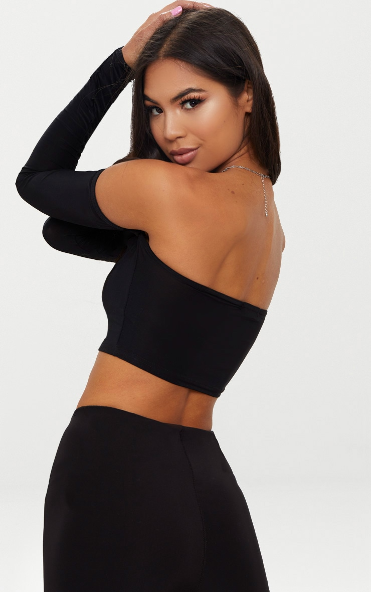 Black Slinky Bardot Long Sleeve Crop Top  2