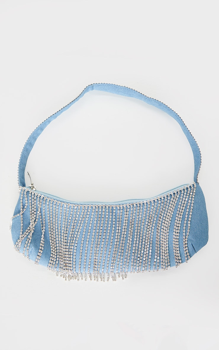 Blue Silver Diamante Tassel Shoulder Bag 2