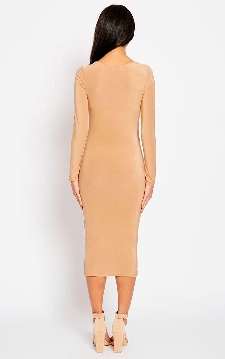 Ziva Camel Slinky Cowl Neck Midi Dress 2