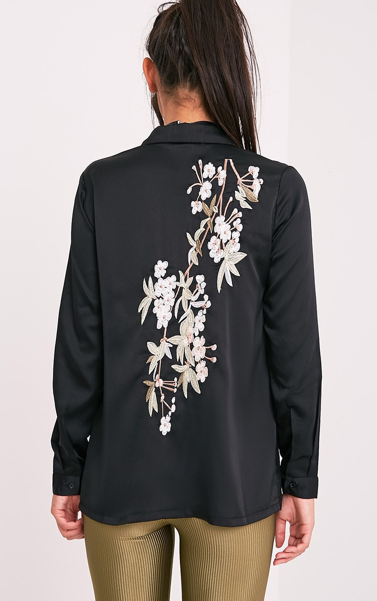Nayee Black Embroidered Satin Shirt 2