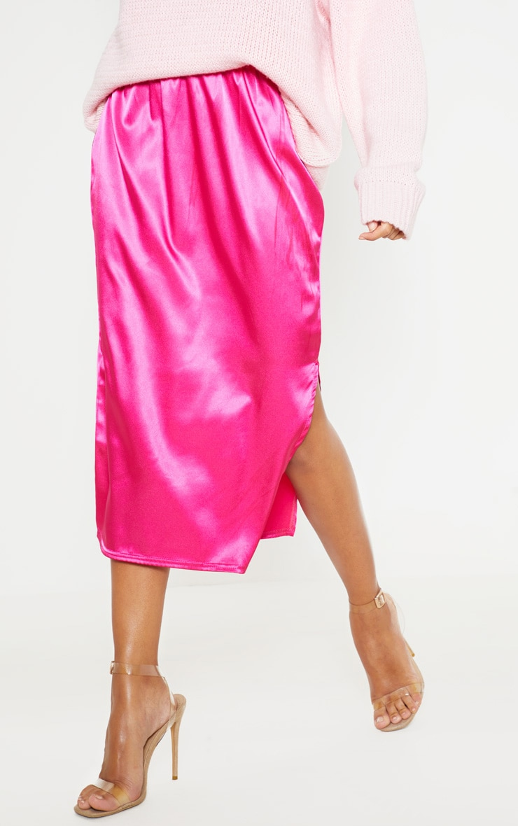 Hot Pink Satin Side Split Midi Skirt 3
