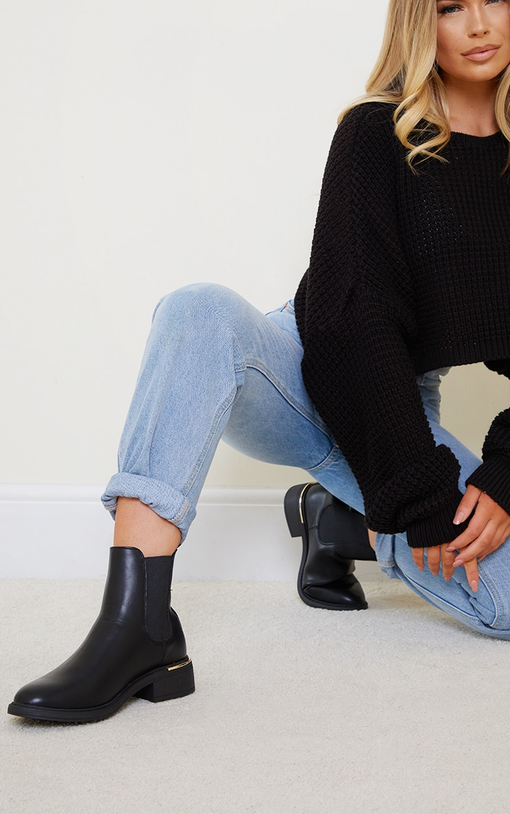 Black Wide Fit Basic Gold Trim Chelsea Ankle Boot 1