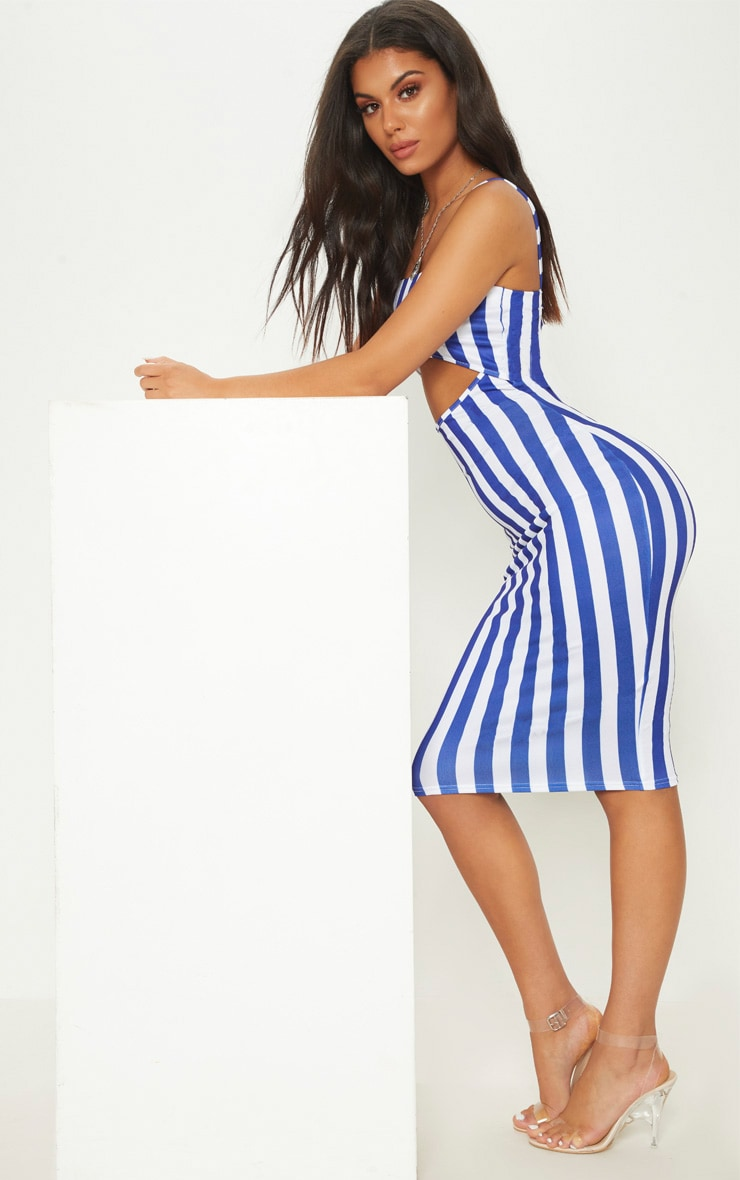 Blue Stripe Print Cut Out Detail Midi Dress 4