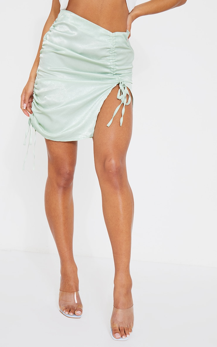 Mint Green Satin Double Ruched Front Mini Skirt 2