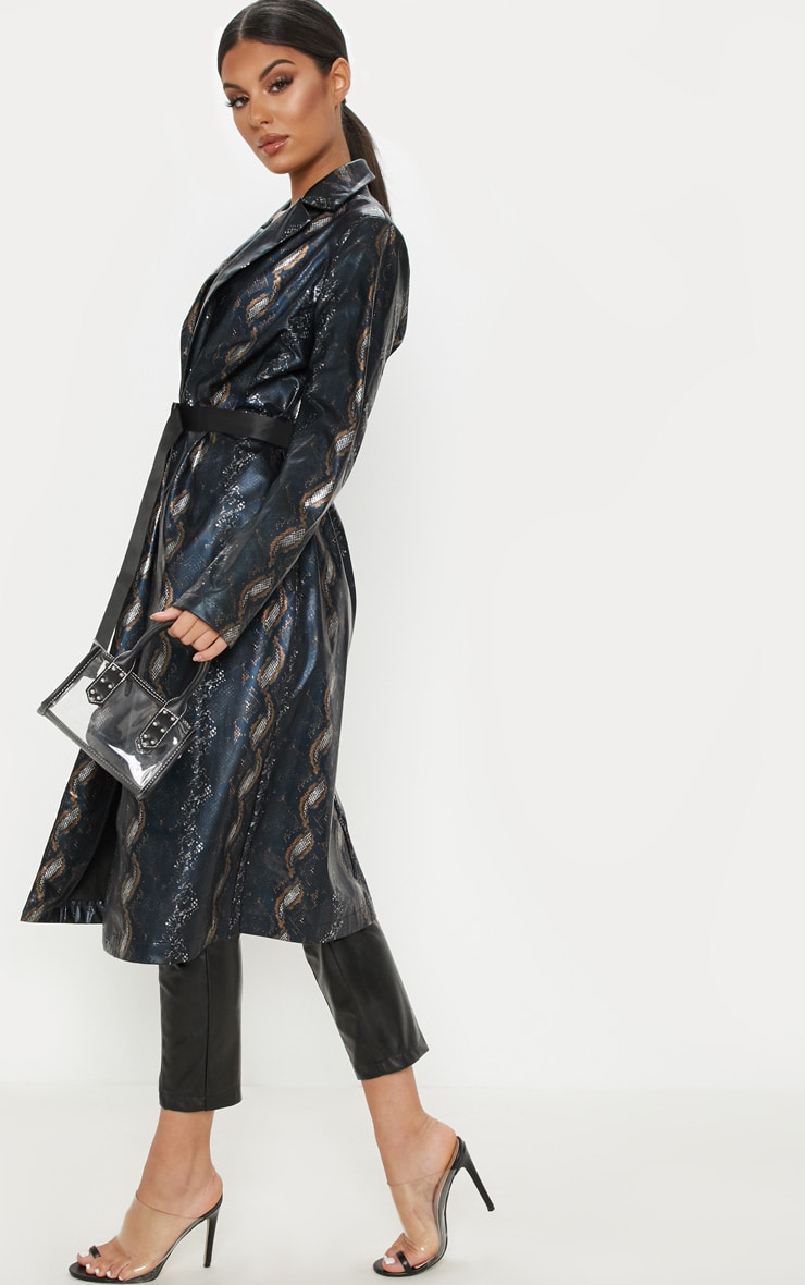 Black Snake Print PU Trench 4
