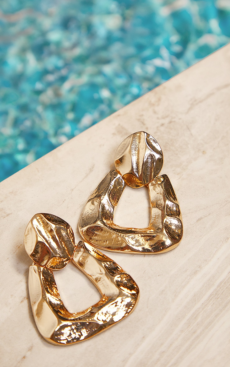 Gold Hammered Triangle Hoop Earrings 2
