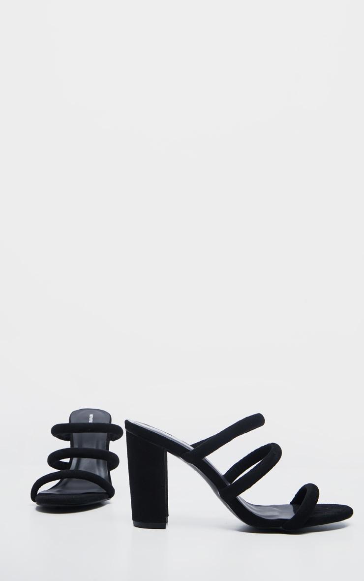 Black Triple Strap Mule Block Heel Sandal 3