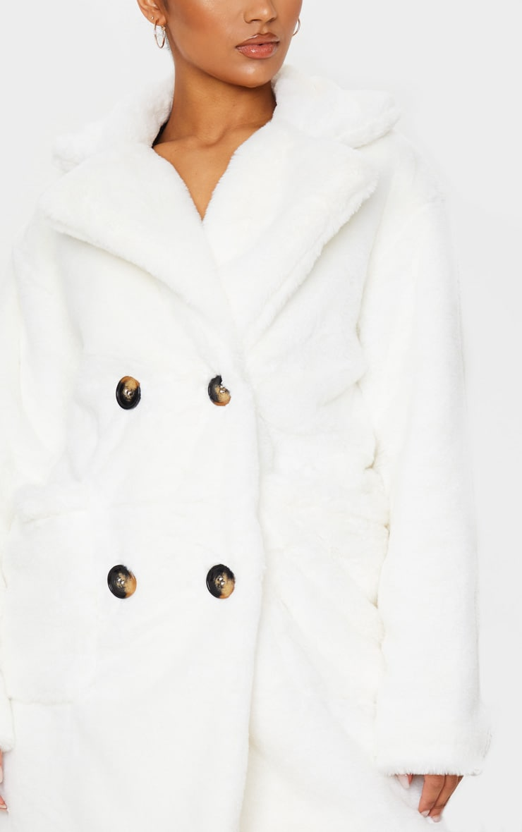 Cream Faux Fur Double Breasted Button Detail Coat 5