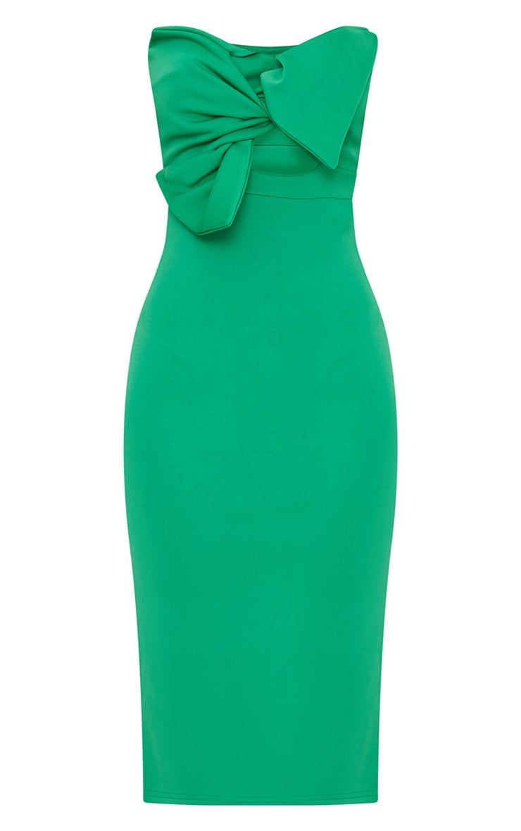 Bright Green Bow Detail Scuba Midi Dress 3