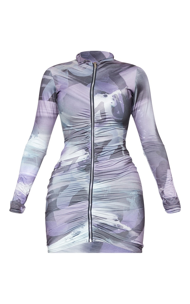 Shape Blue Smoke Print Slinky Zip Front Collar Detail Bodycon Dress 5