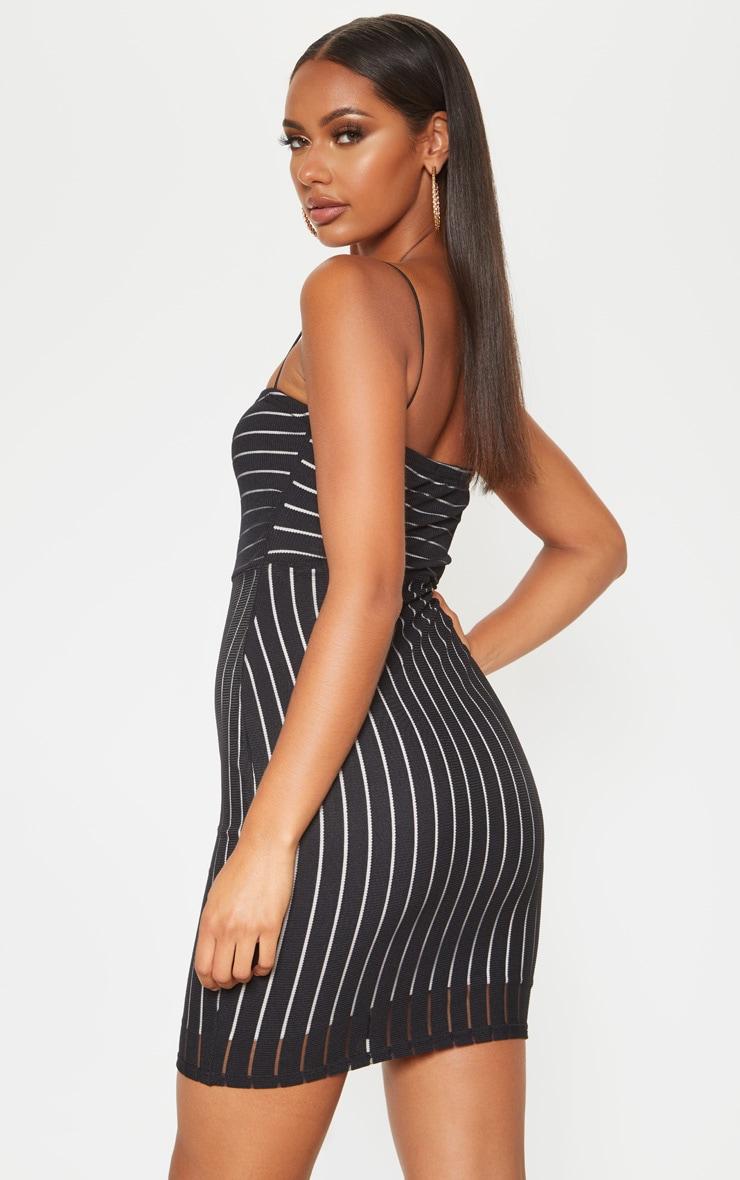 Black Striped Mesh Strappy Bodycon Dress 2