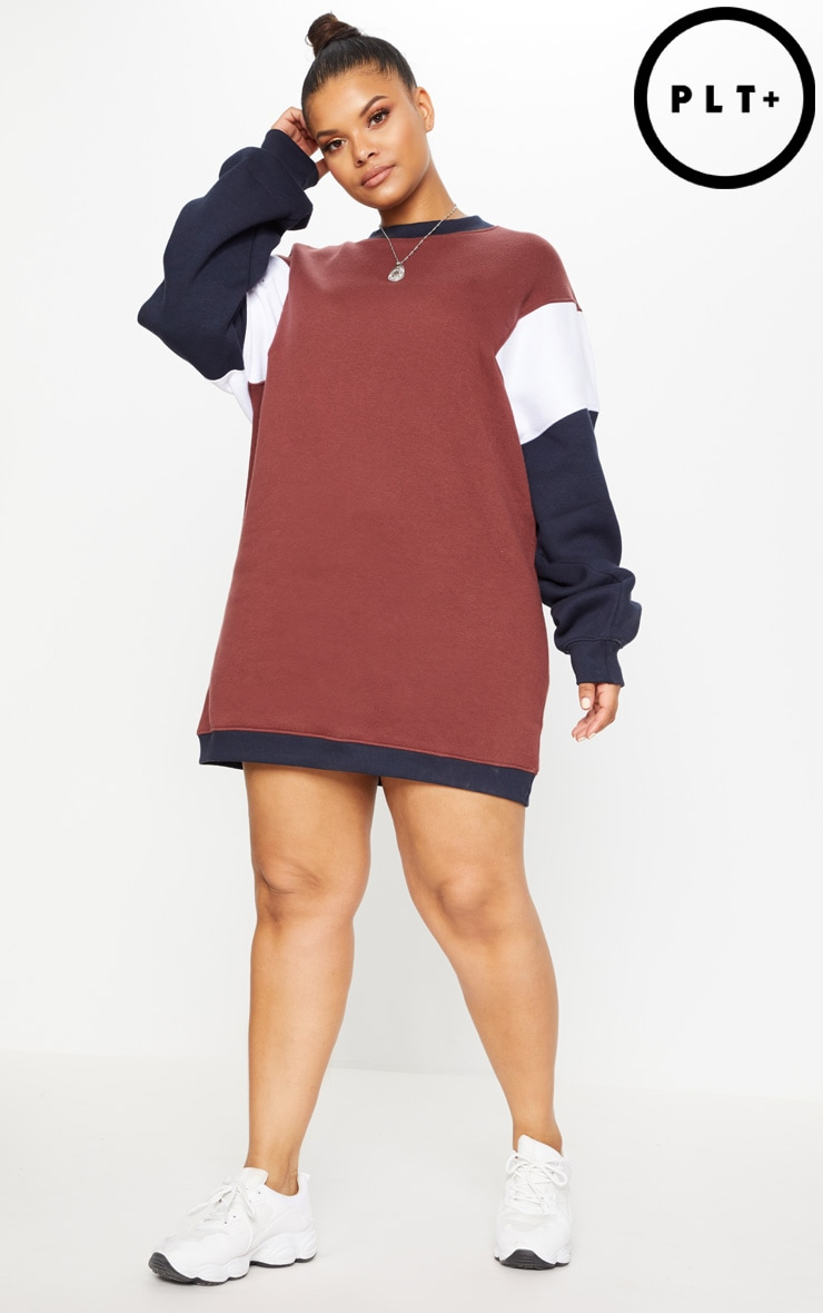 Buy Cheap Manchester PRETTYLITTLETHING Plus Oversized Contrast Panel Sweater Dress 2018 Newest For Sale Exclusive Cheap Sneakernews Find Great Online aiygBATcEd