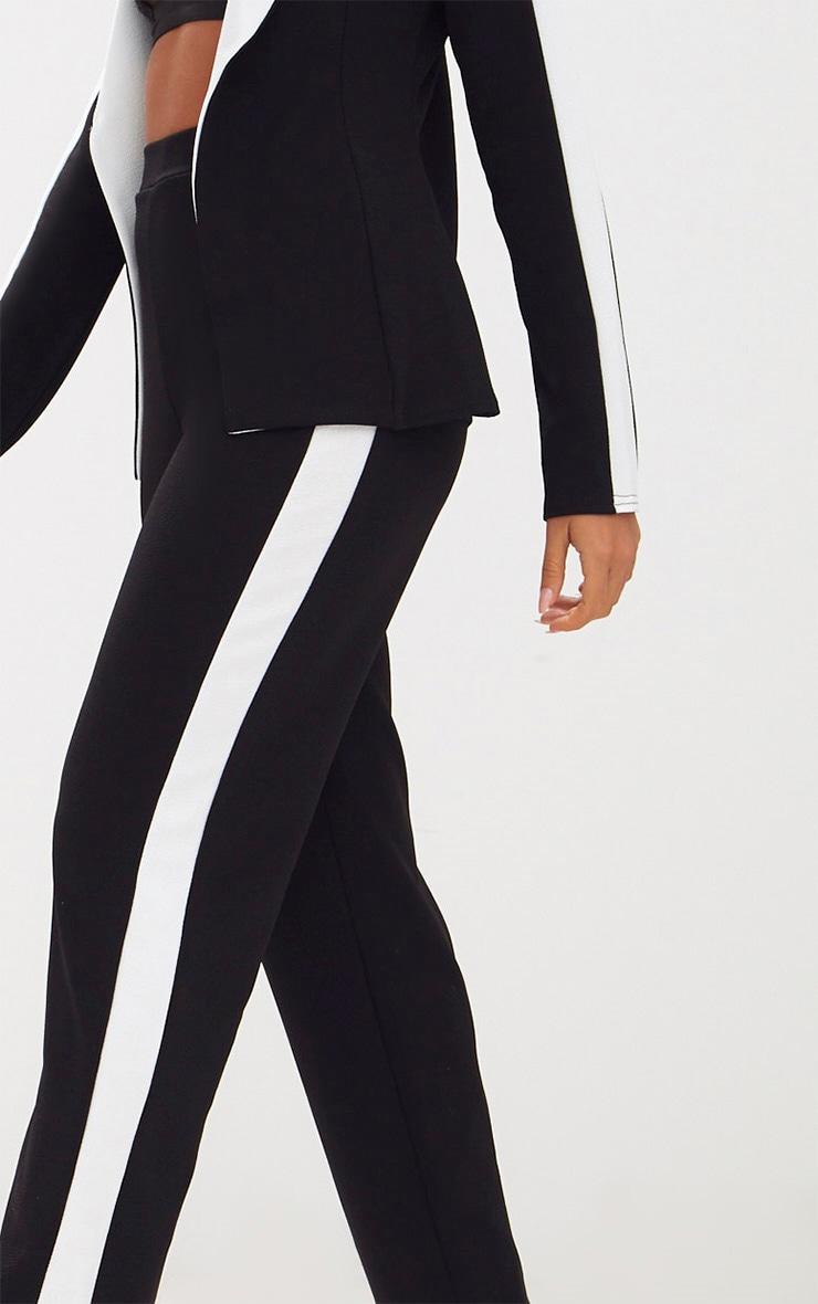 Black Contrast Stripe Straight Leg Trouser 5