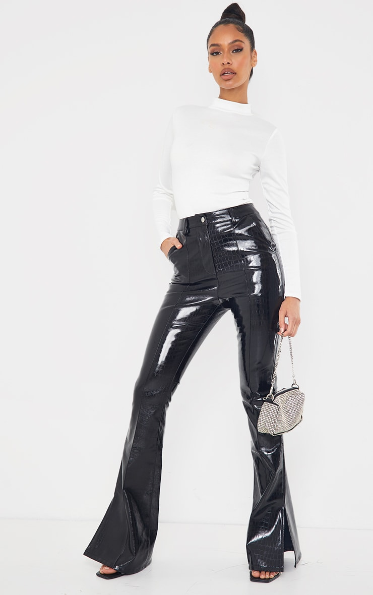 Black Croc Faux Leather Flared Trousers 1