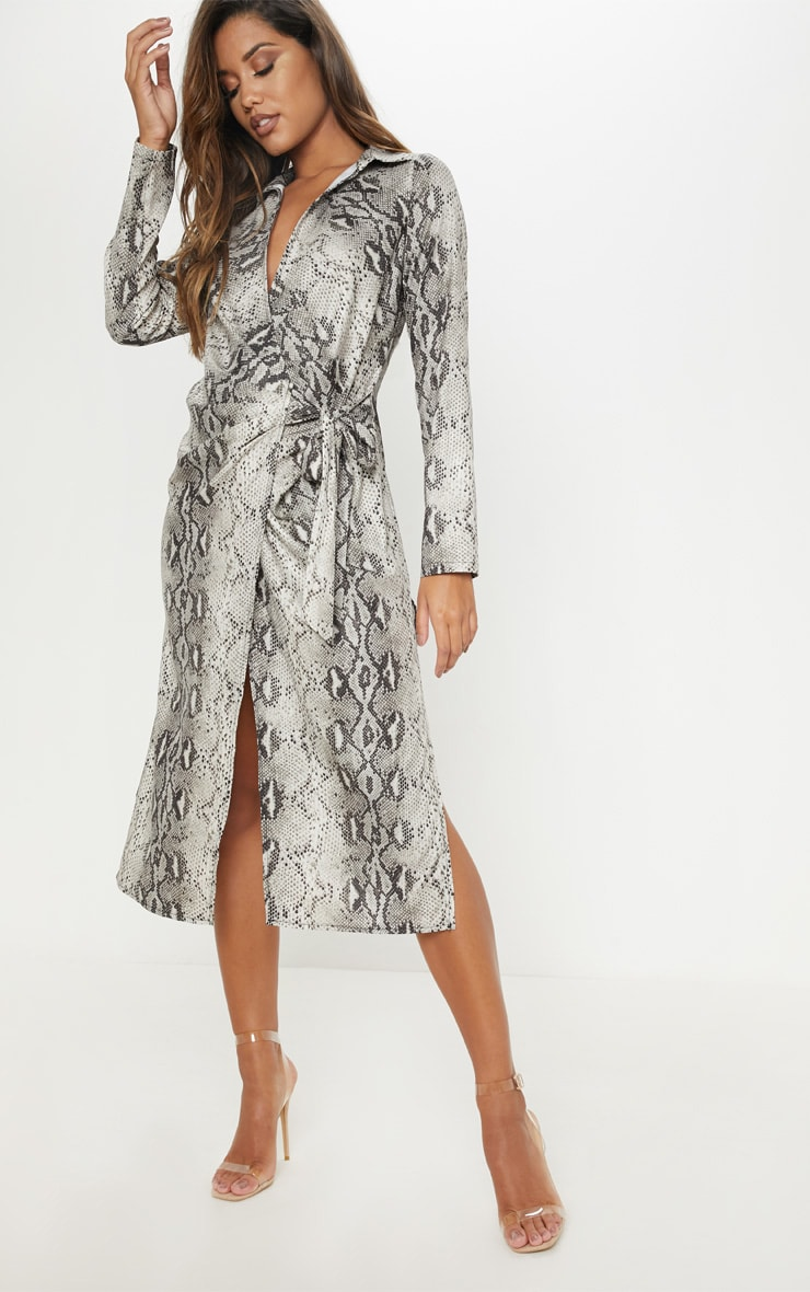 Grey Snake Print Wrap Detail Midi Dress