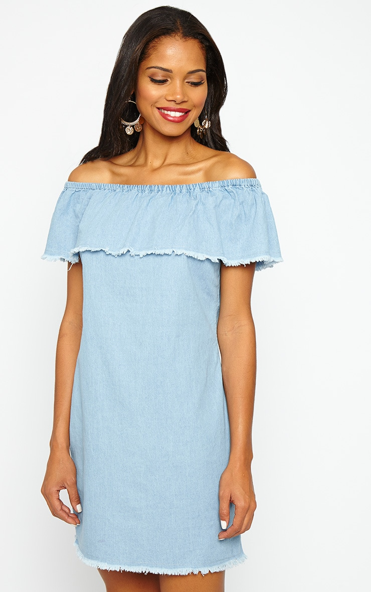 Eunice Blue Denim Bardot Dress 4