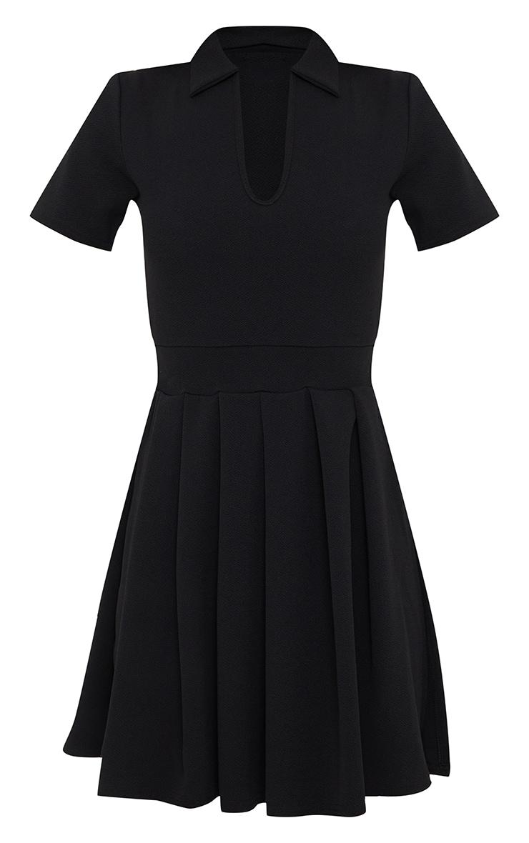 Black Pleated Side Split Tennis Skirt  Shift Dress 5