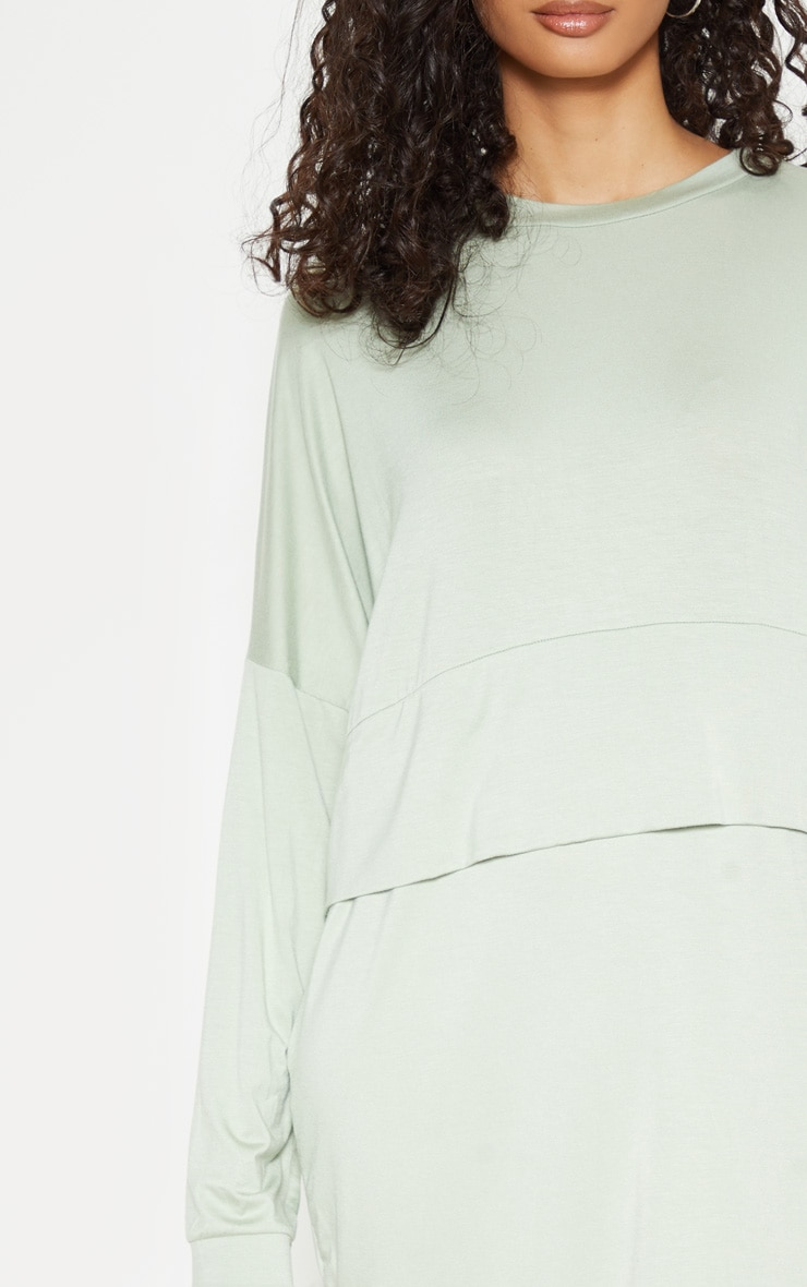 1f70e199786 Sage Green Long Sleeve Layer Jersey T Shirt Dress   PrettyLittleThing