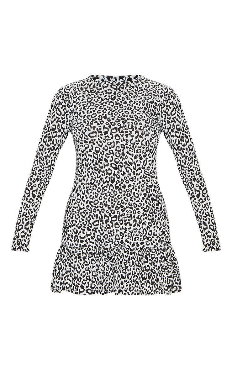 Monochrome Leopard Print Long Sleeve Frill Hem Shift Dress 5