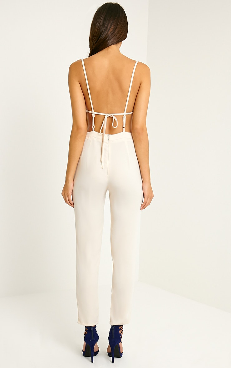 Delphine Beige Strappy Back Jumpsuit 2