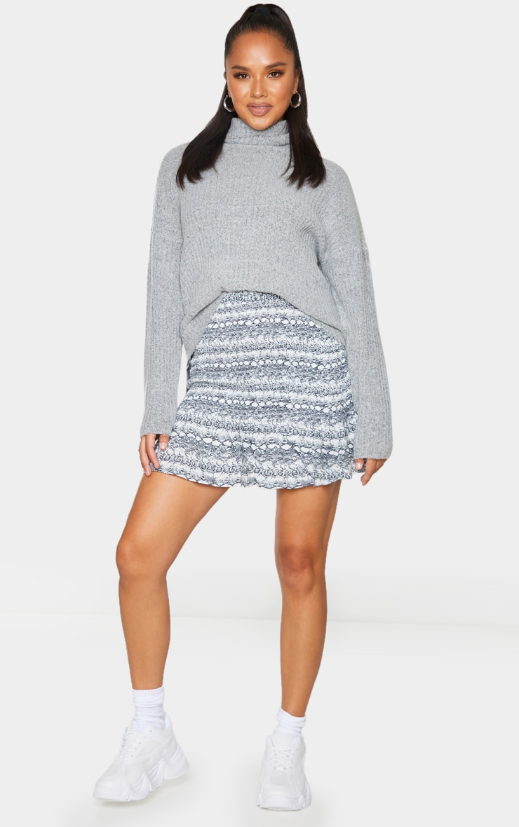 Grey Snake Woven Shirred Frill Hem Mini Skirt 1