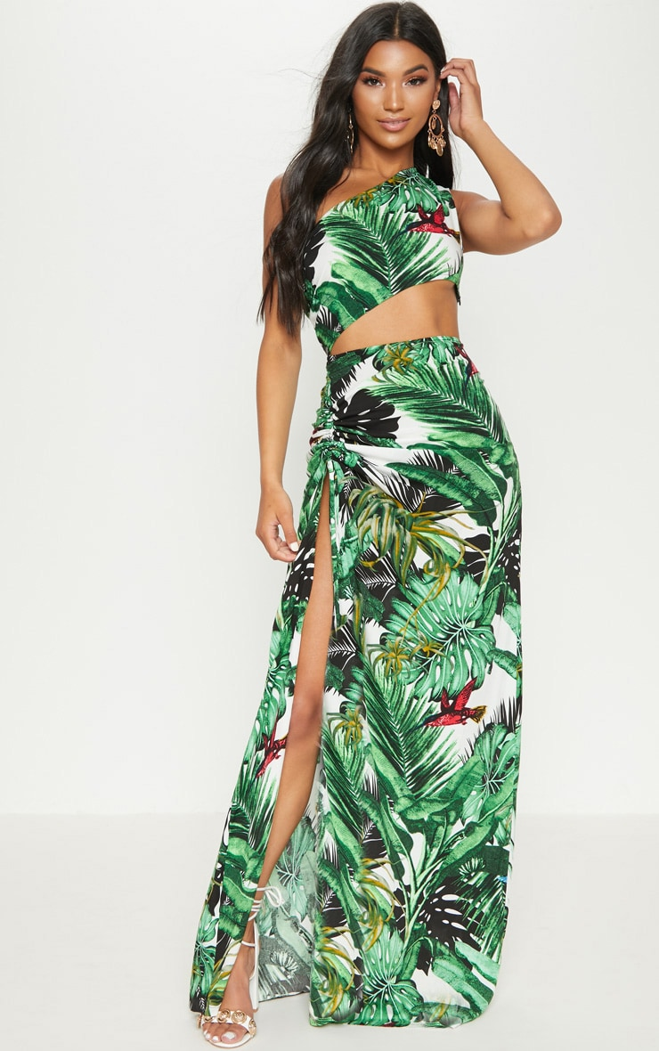 Green Tropical One Shoulder Cut Out Split Leg Maxi Dress 2