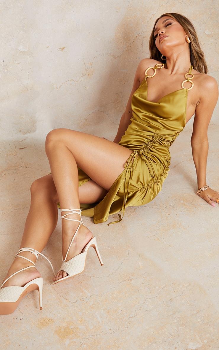 Olive Satin Halterneck Ring Detail Ruched Midi Dress 1