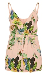 bdc64a148e Pink Palm Print Cheesecloth Button Detail Playsuit image 3