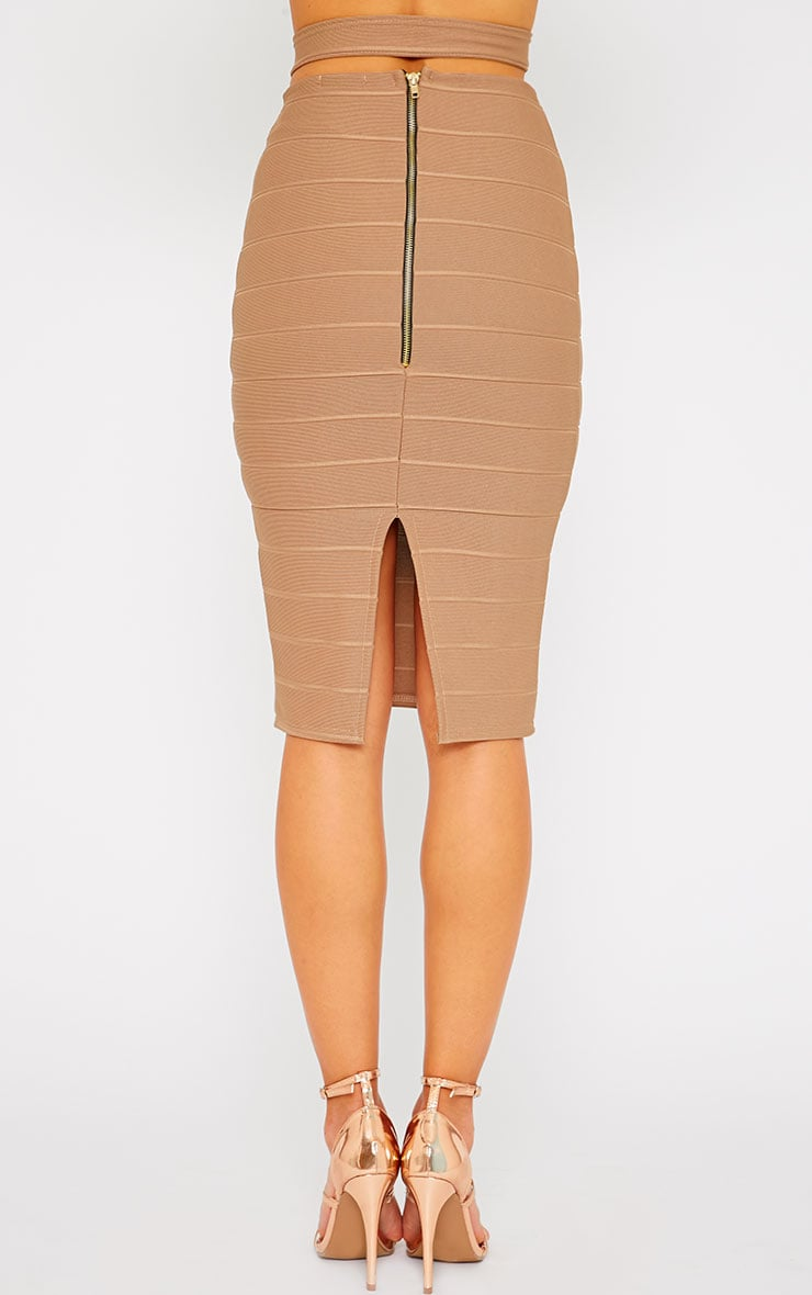 Jaimie Mocha Cut Out Bandage Midi Skirt 5