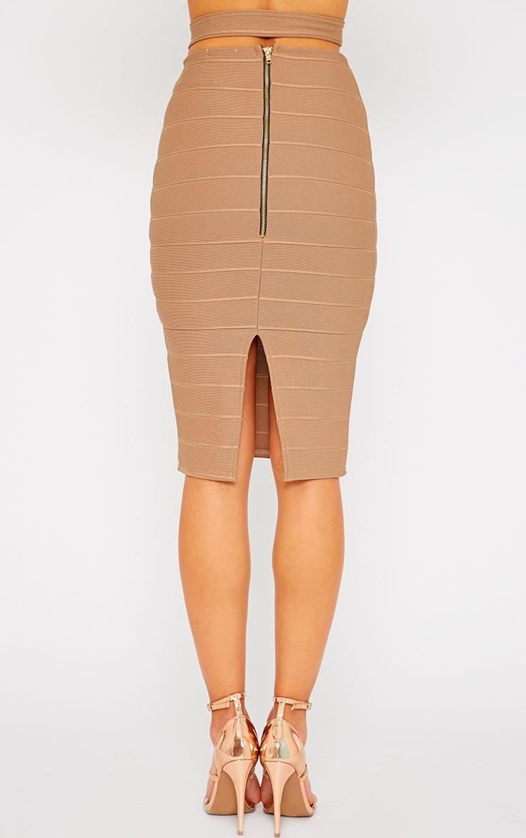 Jaimie Mocha Cut Out Bandage Midi Skirt 5