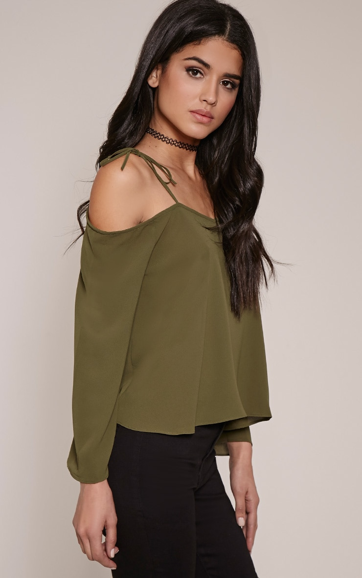 Mel Khaki Cold Shoulder Bell Sleeve Blouse 1