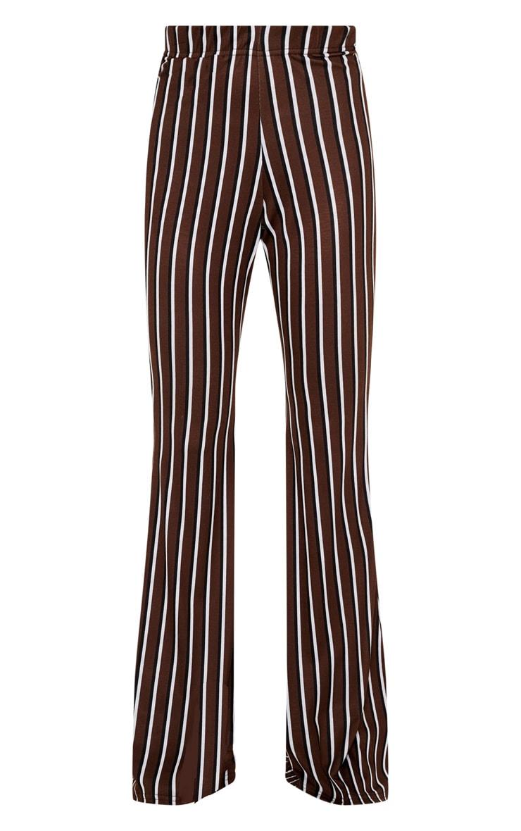 Pantalon flare en jersey chocolat à rayures verticales 3