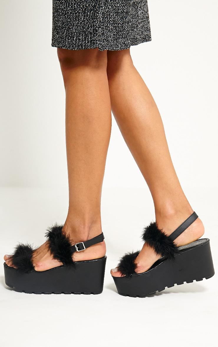 Chelo Black Fluffy Strap Sandals 1