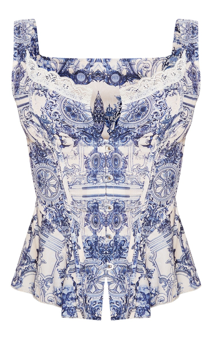 Blue Renaissance Print Woven Structured Corset Long Top 3