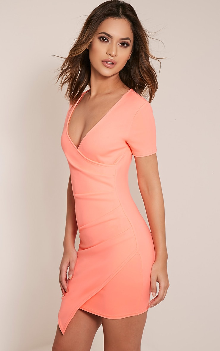 Amarnie Neon Coral Capped Sleeve Crepe Bodycon Dress 4