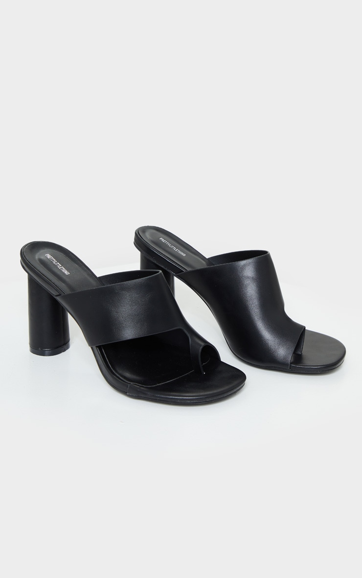 Black Cylinder Heel Single Toe Strap Mule 3