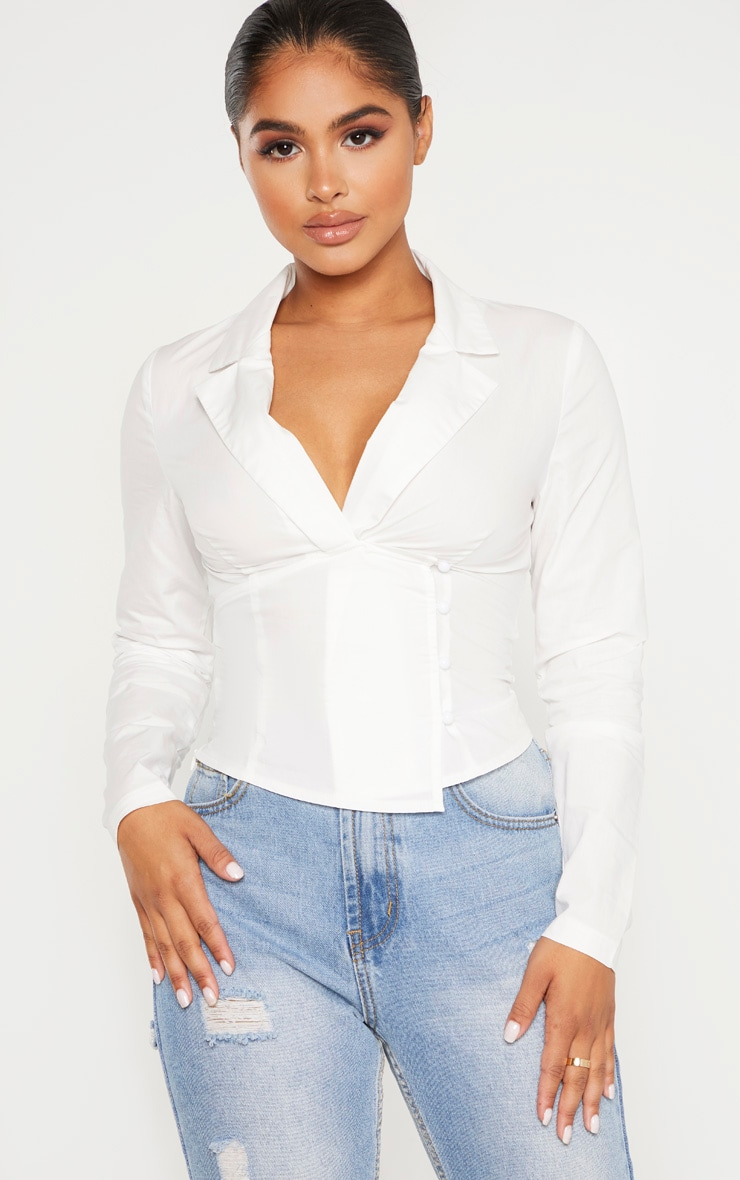 Petite White Plunge Detail Button Side Blouse 1