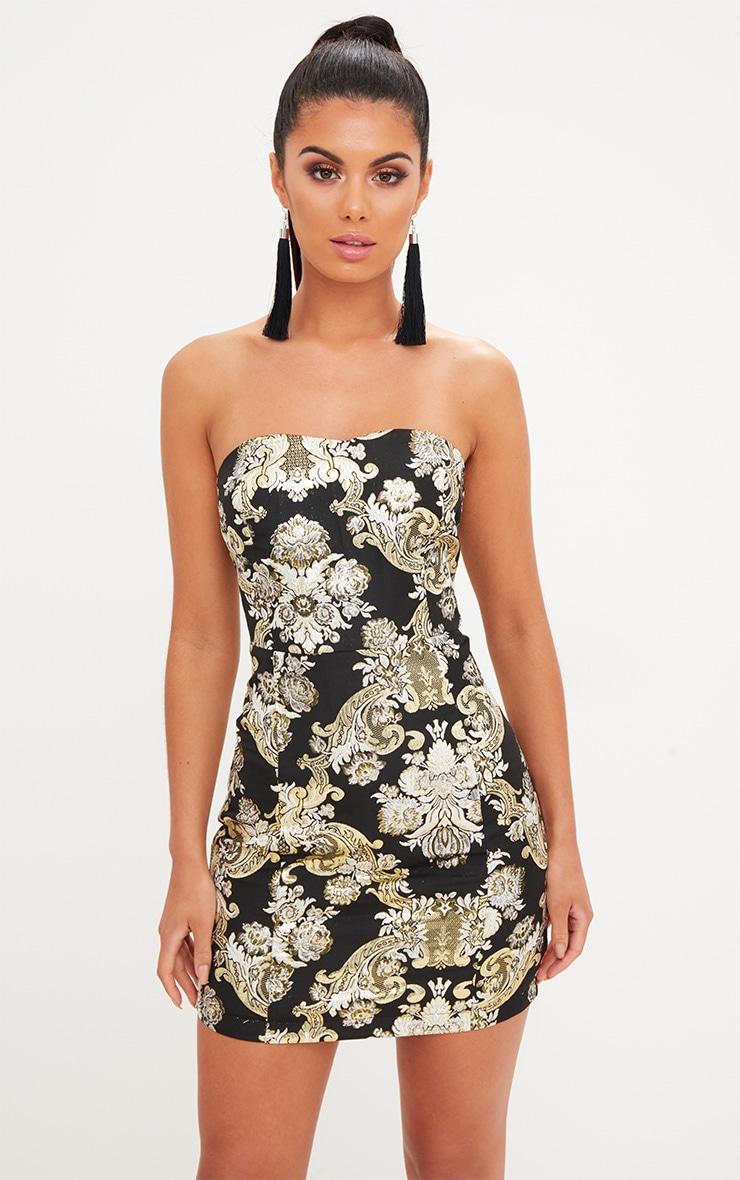 Black Oriental Bandeau Bodycon Dress 1